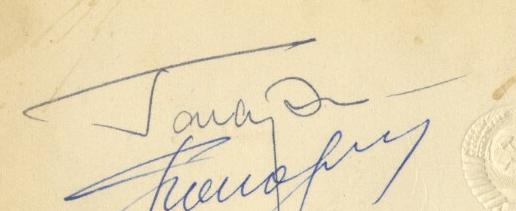 Yuri Gagarin signed invitation, 1965