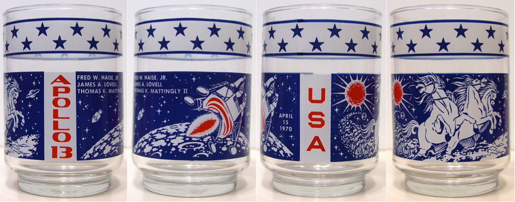 "Apollo 13 ""Stallion"" Libbey glasses with Mattingly listed"