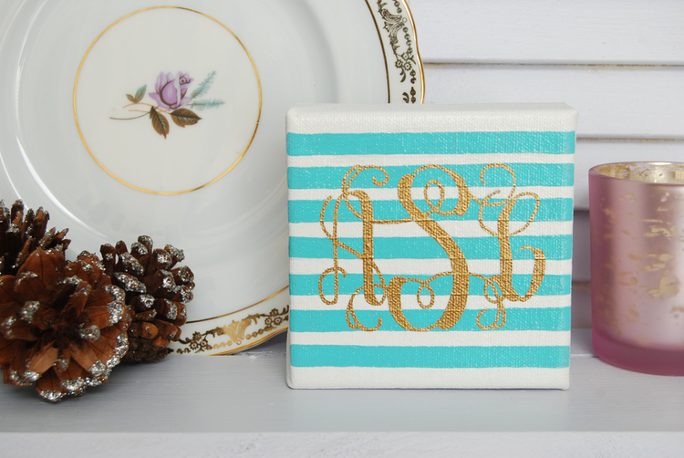 Simply Jessica Marie Feature on Primrose Mag | Blue Striped Monogrammed Canvas