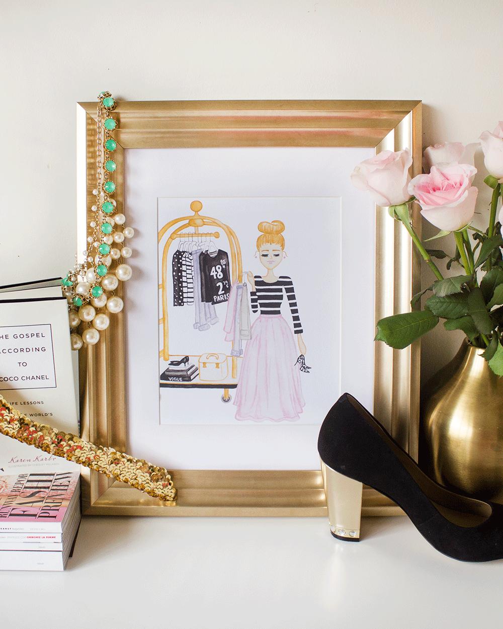 Shopaholic Fashion Illustration Art Print by Simply Jessica Marie