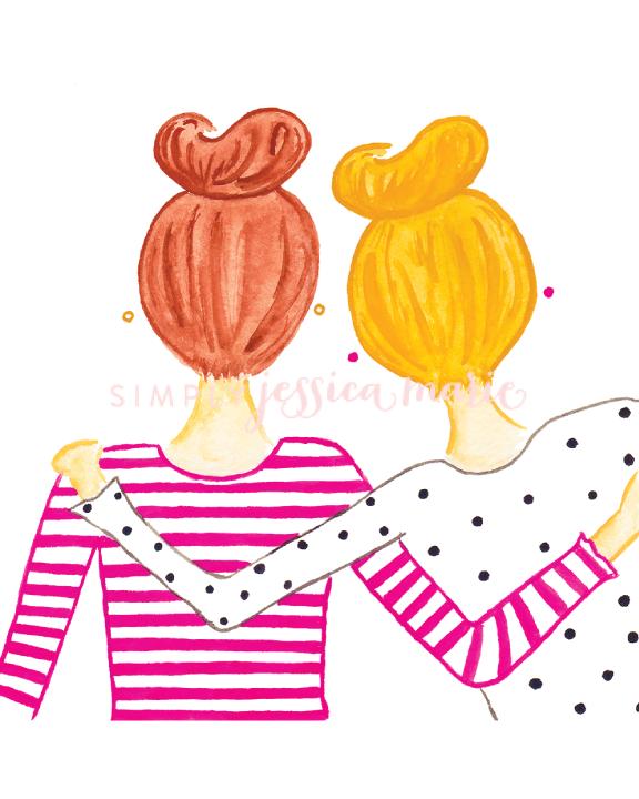 Best Friends in Top Knots Fashion Illustration Art Print