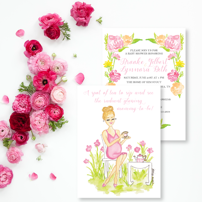 Custom Watercolor Baby Shower Invitations by Simply Jessica Marie
