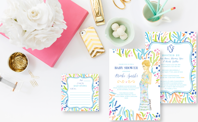 Custom Watercolor Lilly Pulitzer Inspired Baby Shower Invitations by Simply Jessica Marie