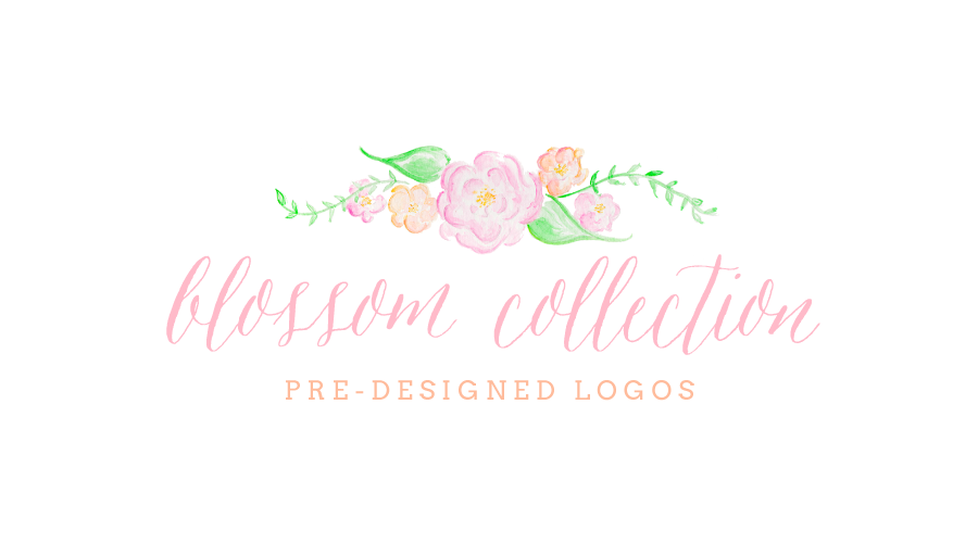 Pre Designed Watercolor Floral Logos by Simply Jessica Marie   The Blossom Collection