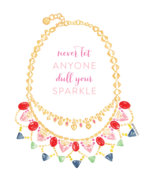 Never Let Anyone Dull Your Sparkle | Stella & Dot Fanella Statement Necklace Illustrated by Simply Jessica Marie