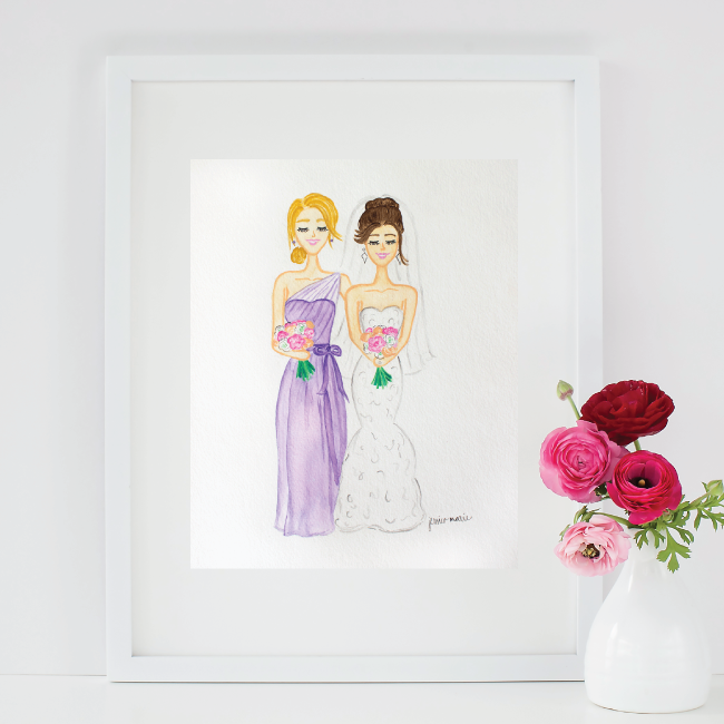 Custom Watercolor Bridesmaid Portrait by Simply Jessica Marie