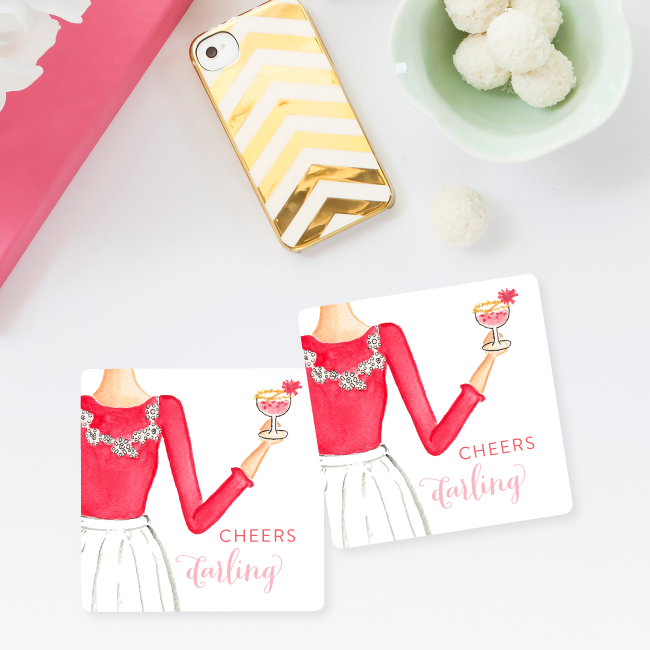 Cheers Darling Coaster Set of 4 by Simply Jessica Marie
