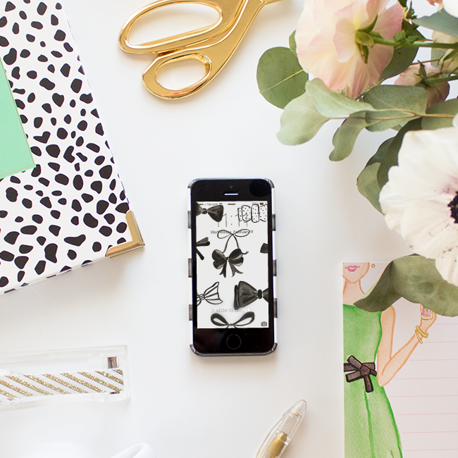 Free Bow Pattern Phone Wallpaper | Simply Jessica Marie for Some Like it Classic