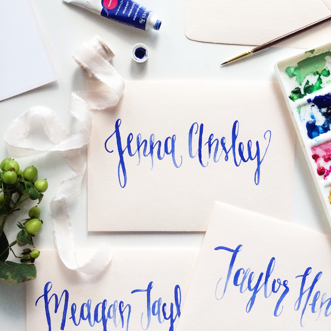 Watercolor Envelope Calligraphy for Wedding Invitations and Party Invitations by Simply Jessica Marie