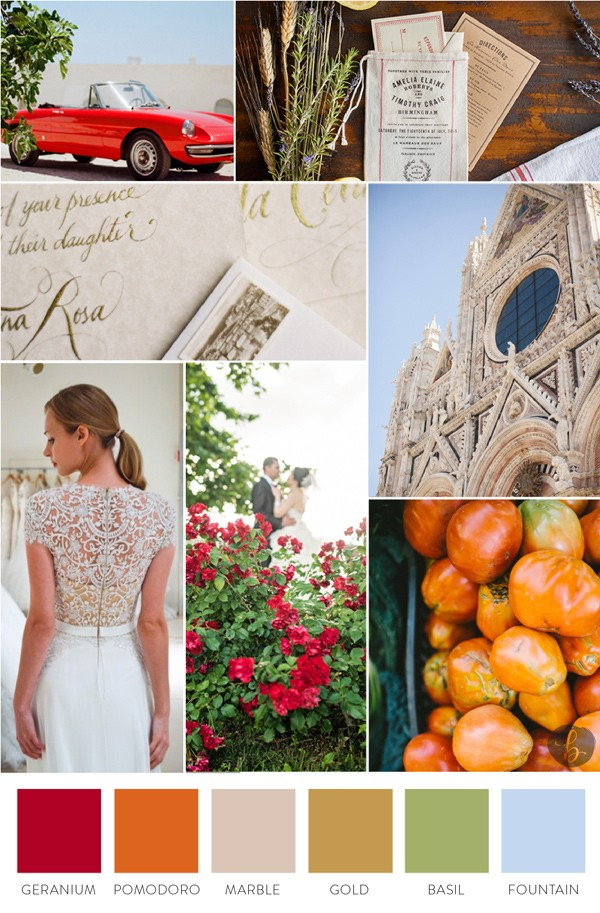 Roma Red Wedding Inspiration Board by The Big Fake Wedding Nashville