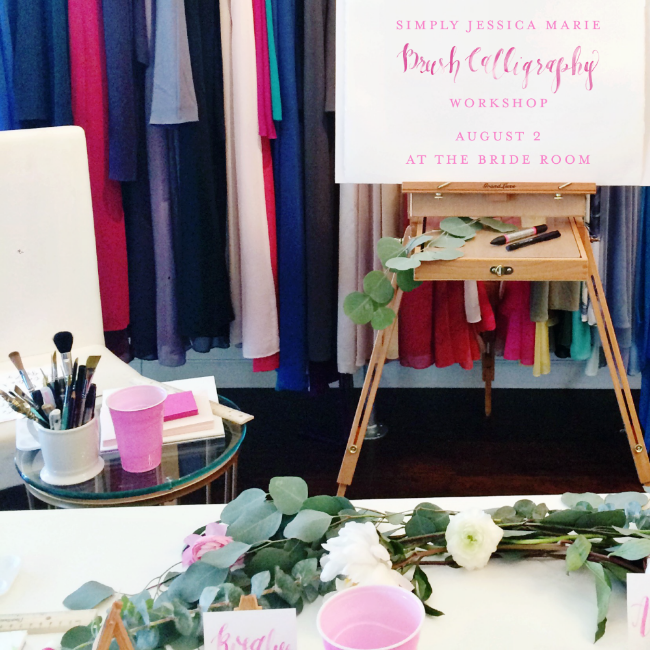 Simply Jessica Marie Brush Calligraphy Workshop at Bella Bridesmaids in Nashville