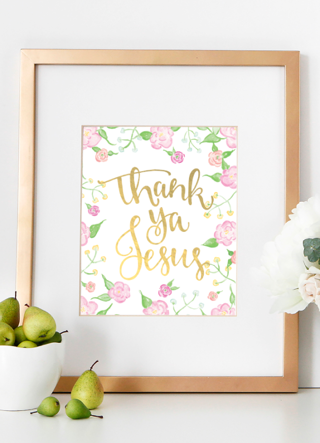 Thank Ya Jesus Watercolor Floral and Gold Foil Art Print by Simply Jessica Marie and Stephanie Creekmur