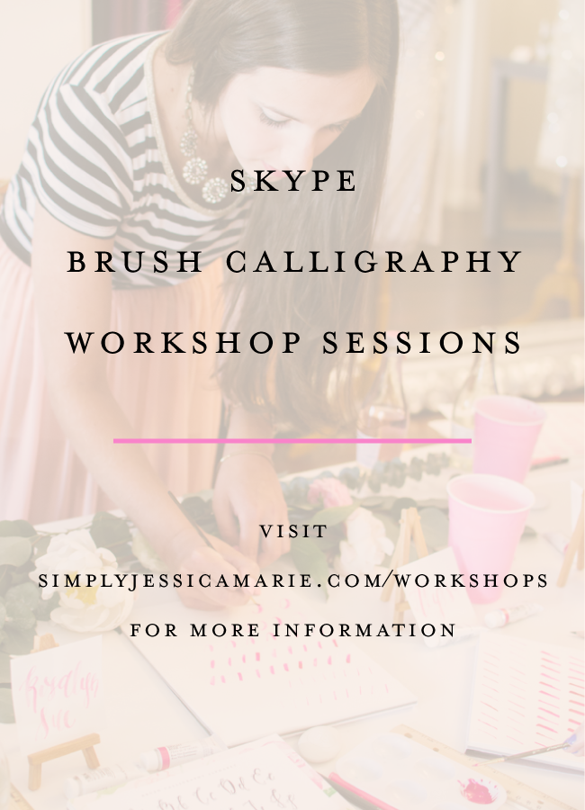 Skype Brush Calligraphy Workshops with Simply Jessica Marie