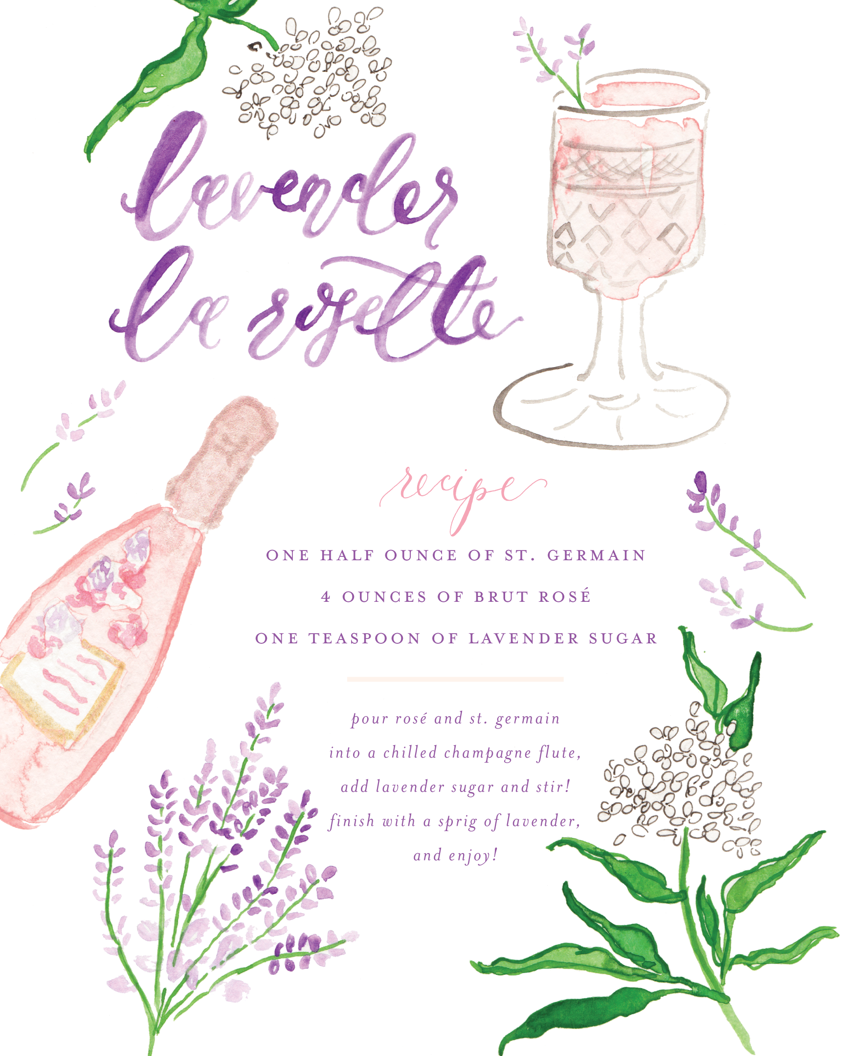 Lavender La Rosette Cocktail Recipe with Watercolor Illustration by Simply Jessica Marie