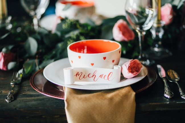 Moody Romantic Valentine's Day Styled Shoot | Wedding Stationery and Calligraphy by Simply Jessica Marie | Heather Faulkner Photography