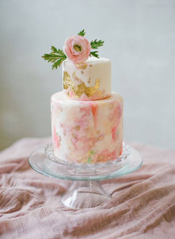 Pink Watercolor Two-Tier Wedding Cake