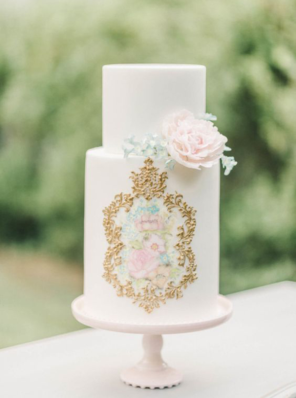 Painted Two Tier Wedding Cake