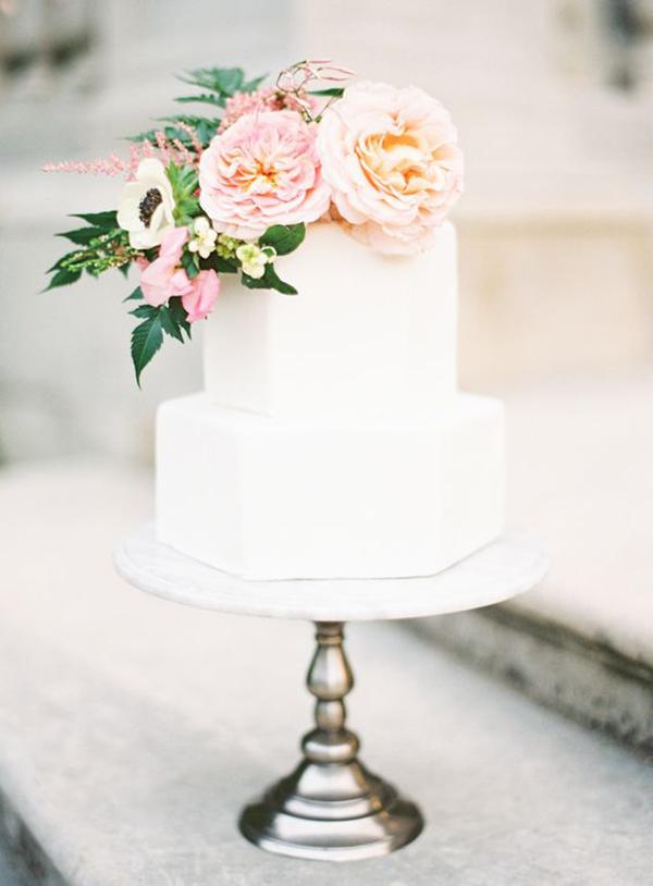 Hexagon White Two Tier Wedding Cake