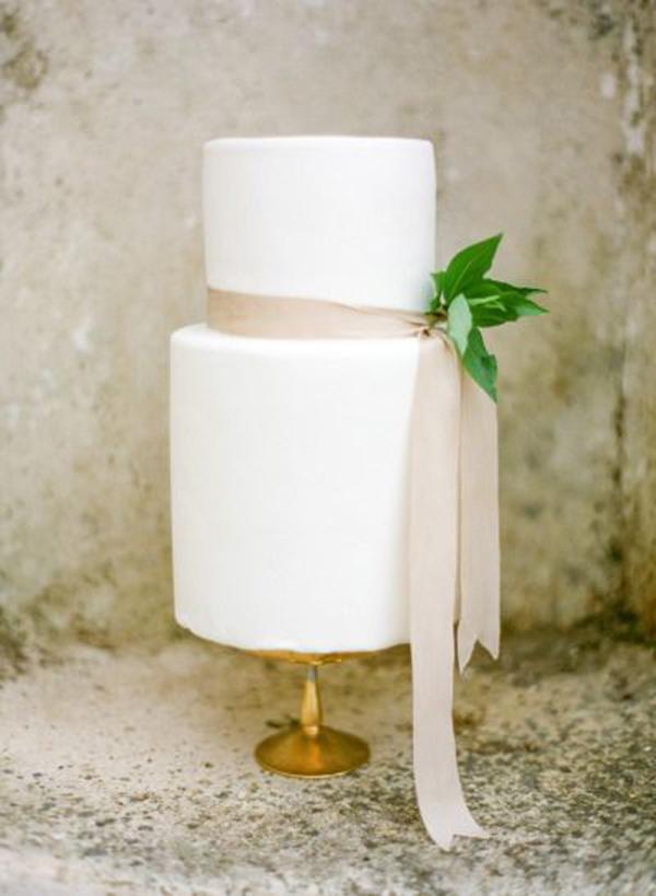 Minimalist Modern Two Tier White Wedding Cake