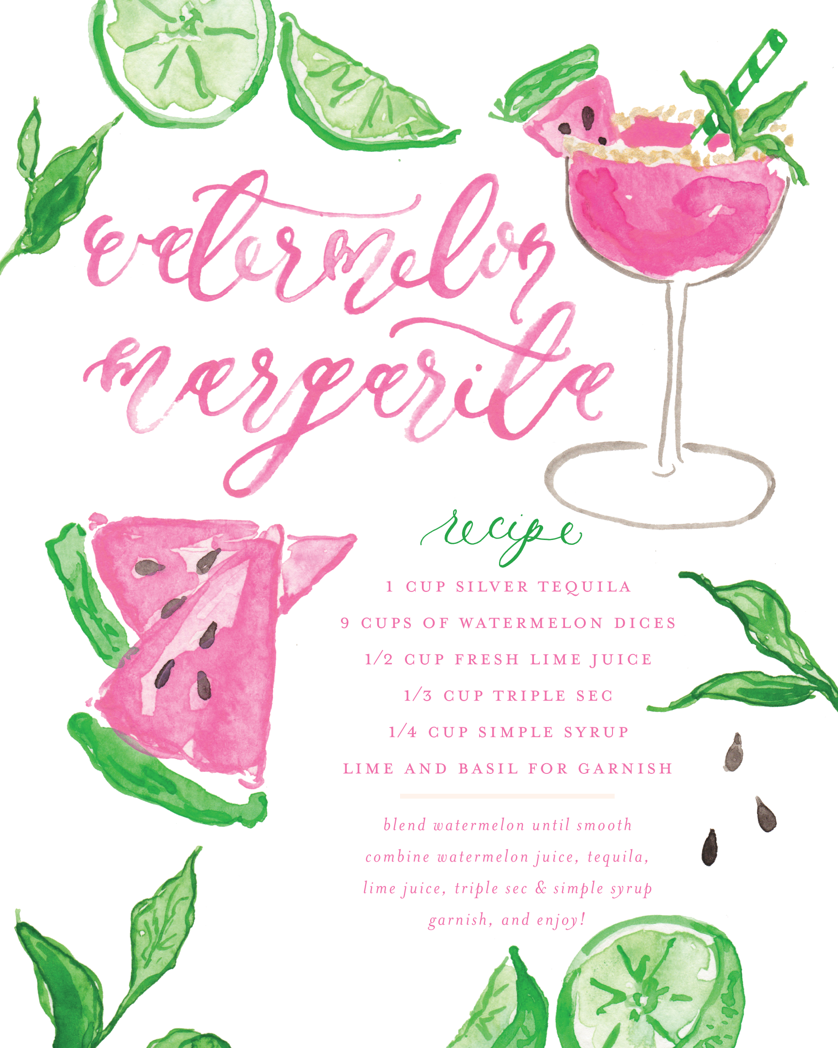 Watermelon Basil Margarita Cocktail Recipe by Simply Jessica Marie