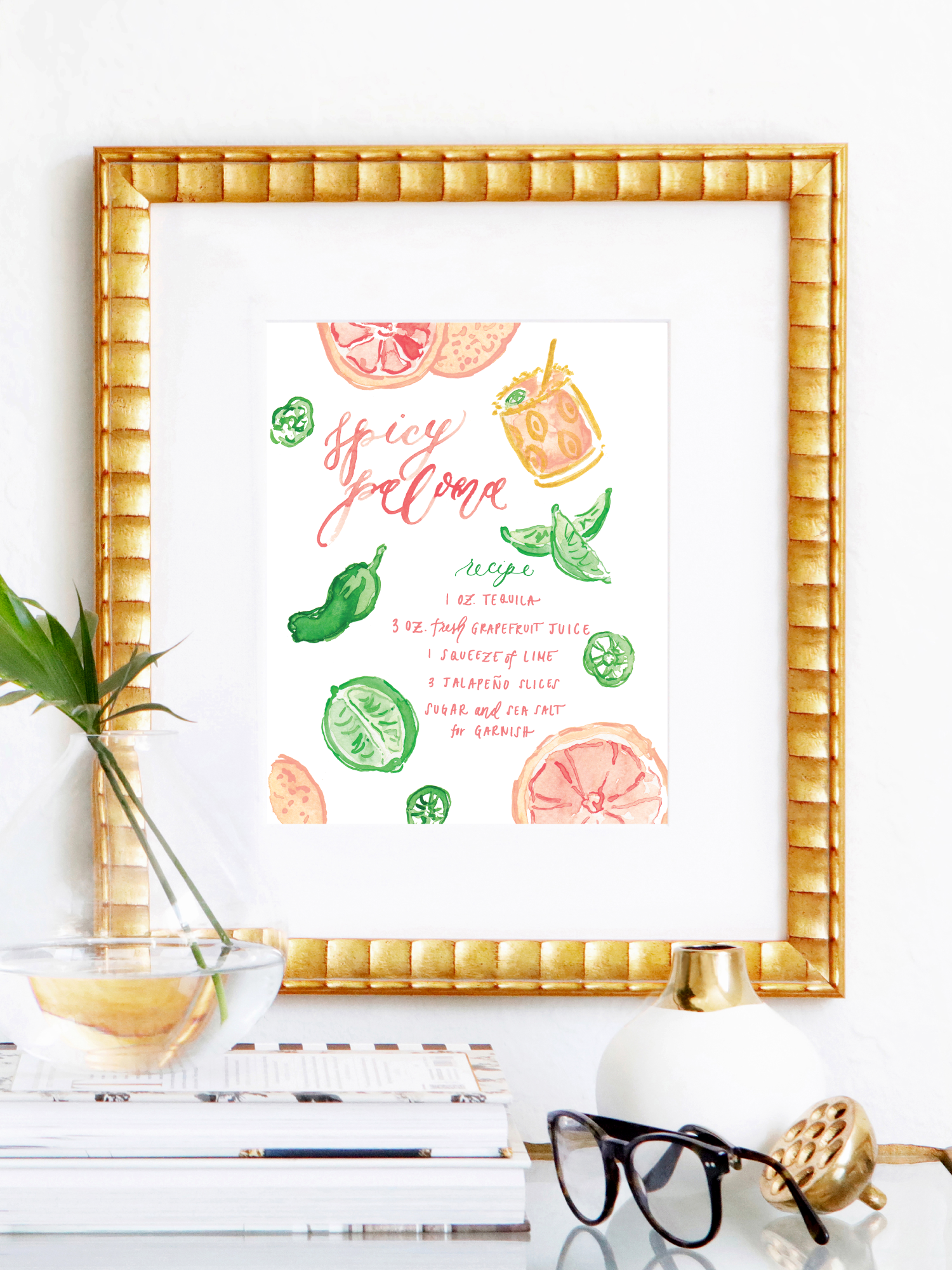 Spicy Paloma Cocktail Recipe with Watercolor Illustrated Cocktail Art Print by Simply Jessica Marie