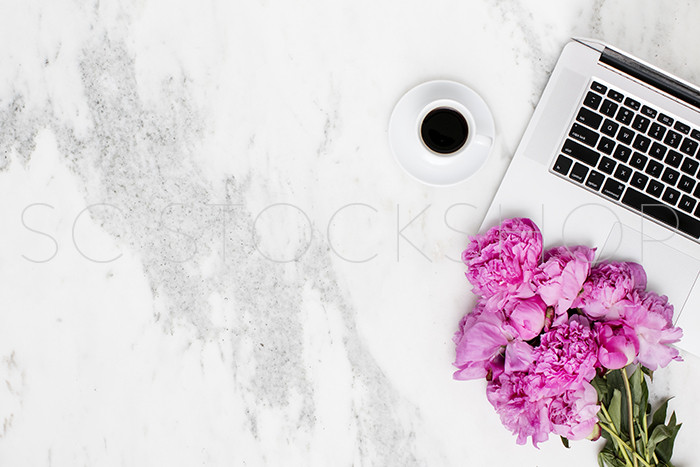 SC Stockshop Marble and Peony Desktop Styled Stock Image
