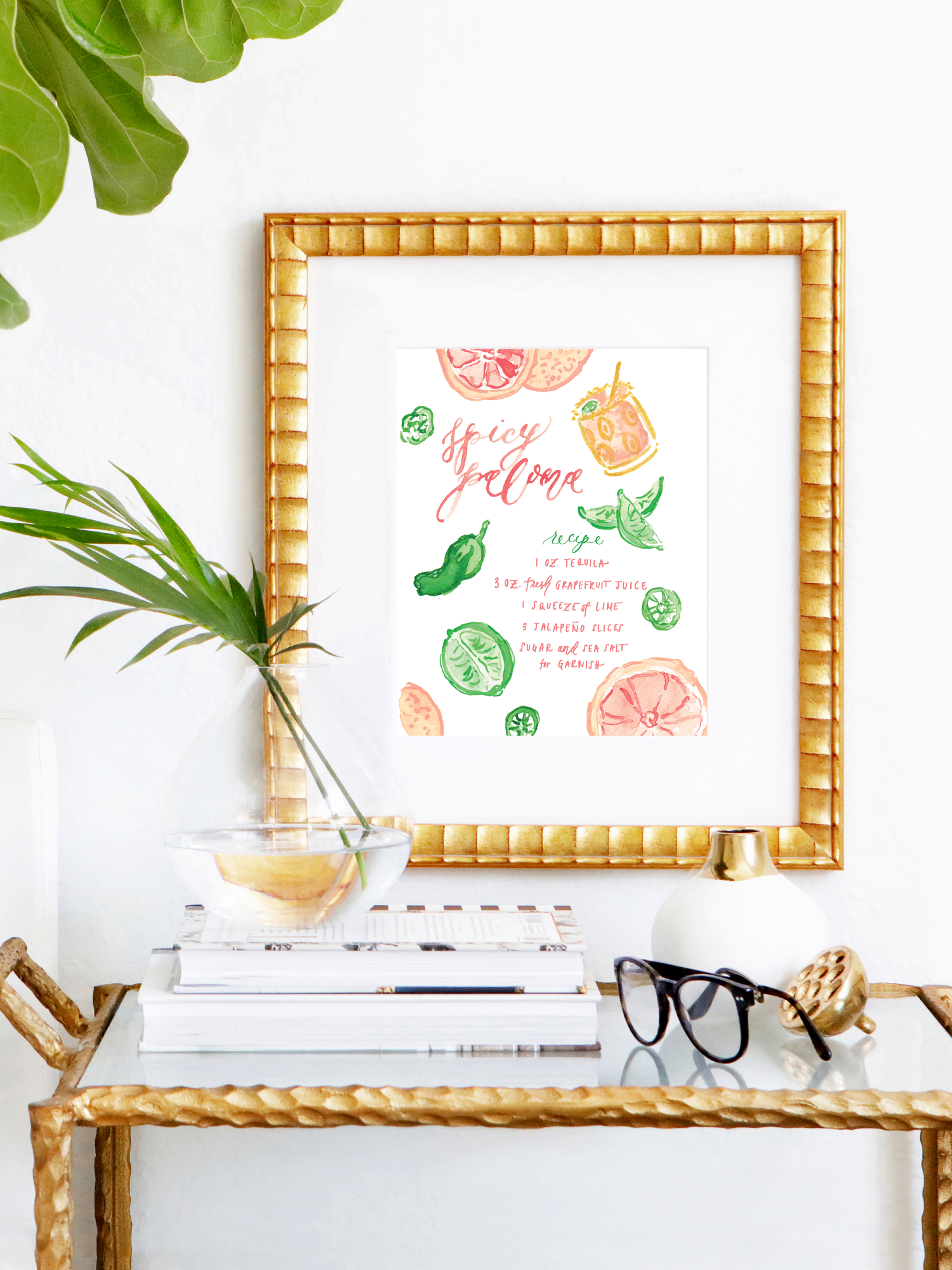 Spicy Paloma Watercolor Illustrated Cocktail Art Print by Simply Jessica Marie