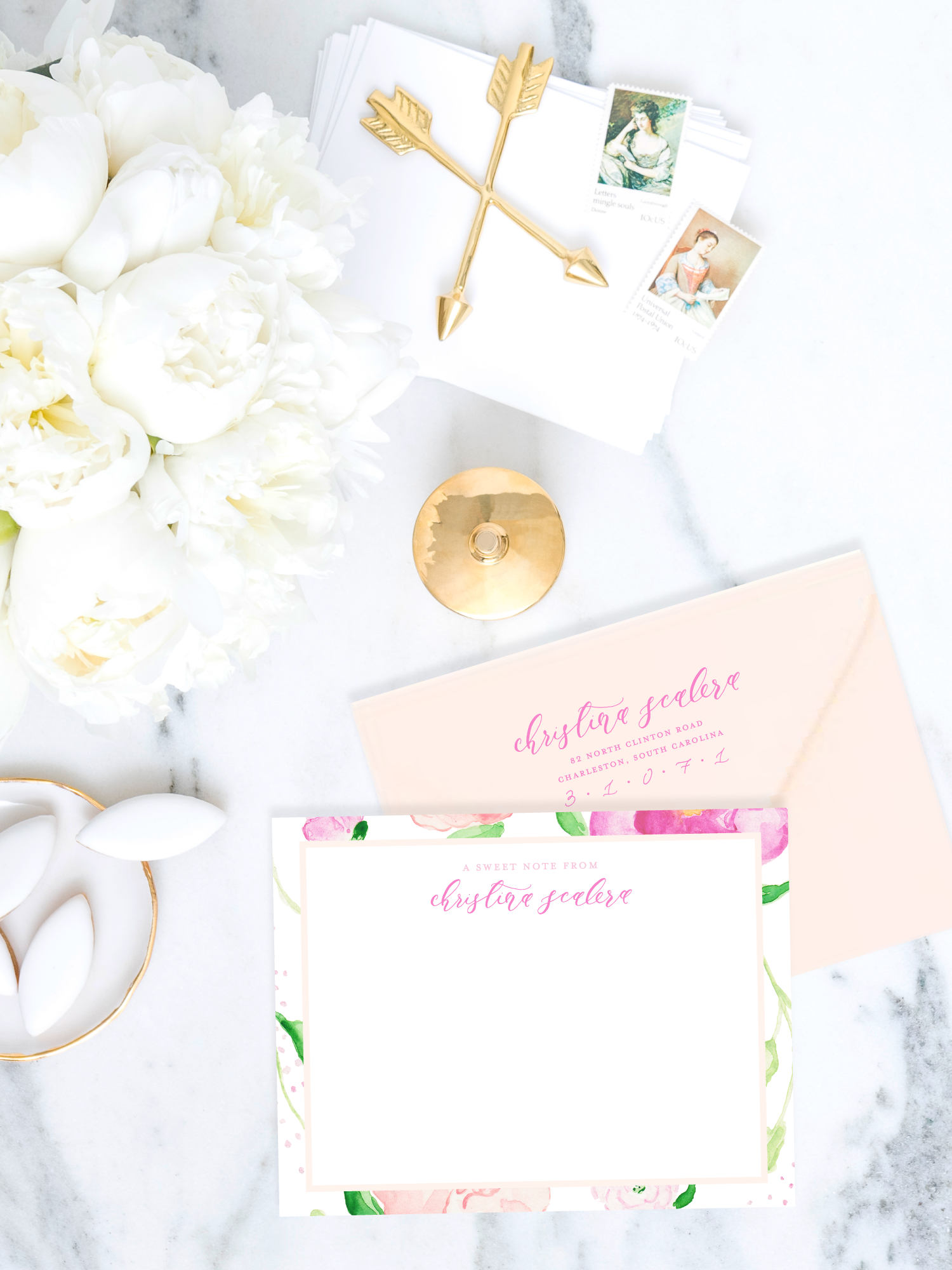 Personalized Watercolor and Calligraphy Stationery and Calligraphy Return Address Stamp Set by Simply Jessica Marie