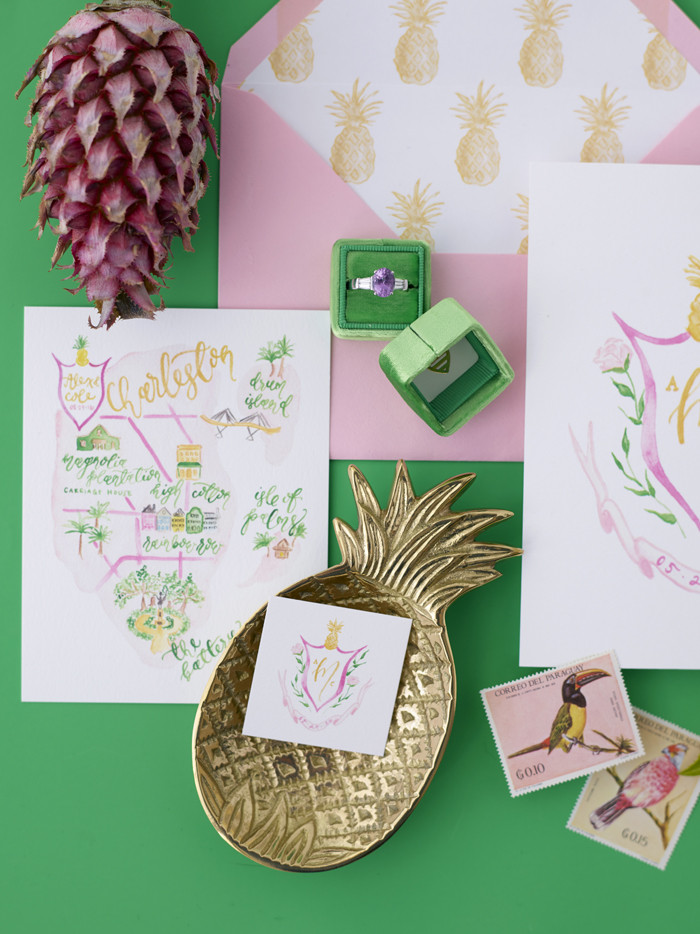Custom Charleston Wedding Map and Pineapple Wedding Invitation Suite by Simply Jessica Marie | Photographed by Jose Villa for The Mrs. Box