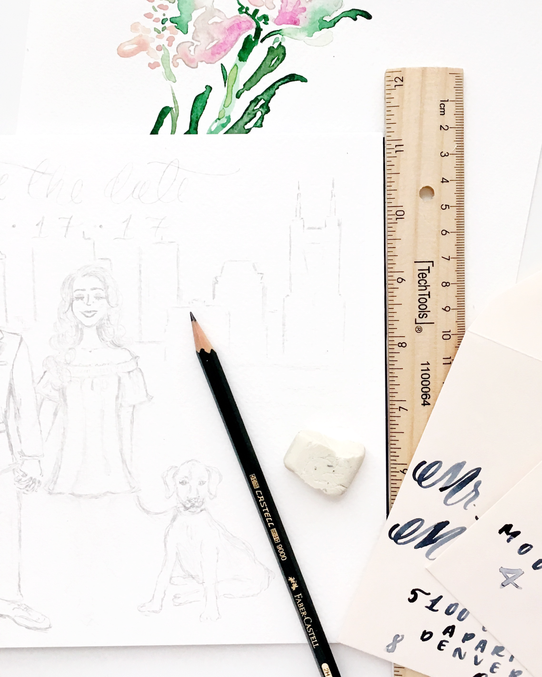 Custom Sketches for Wedding Invitations by Simply Jessica Marie