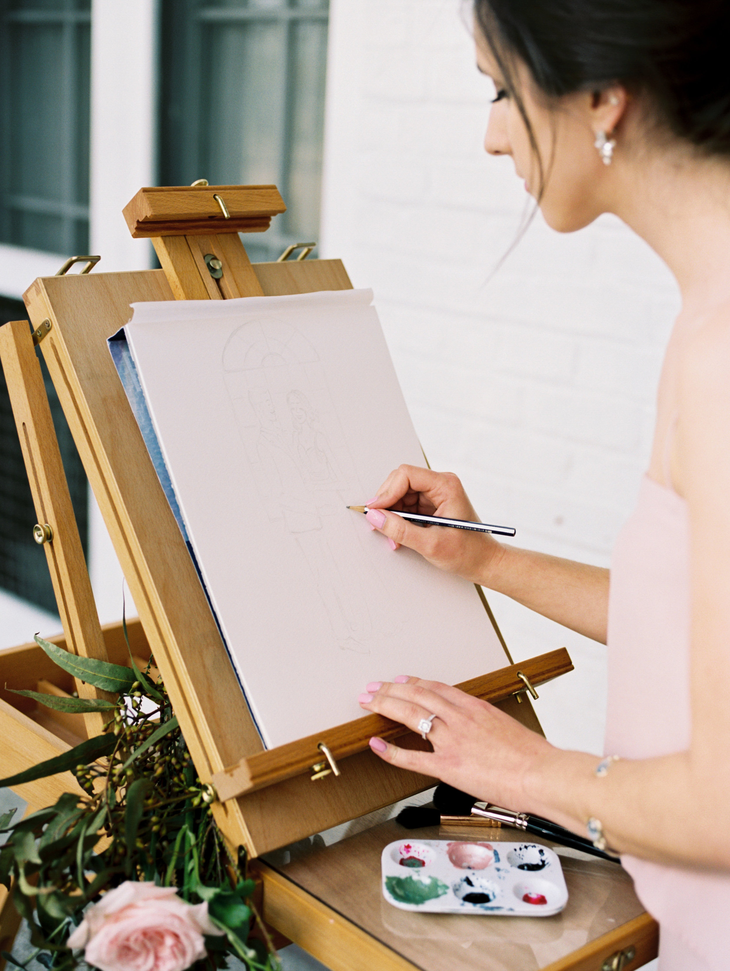 Custom Watercolor Wedding Artist Simply Jessica Marie | Live Wedding Painting | Abigail Malone Photography