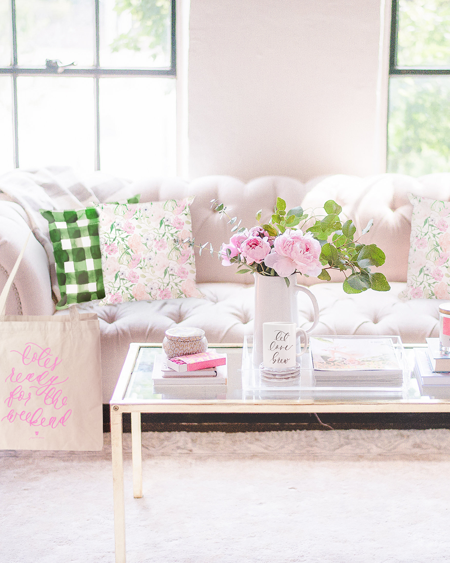 Simply Jessica Marie Lifestyle Collection of Calligraphy Mugs, Watercolor Pillows, and Calligraphy Tote Bags | Photo by Jaimie Carl Photography