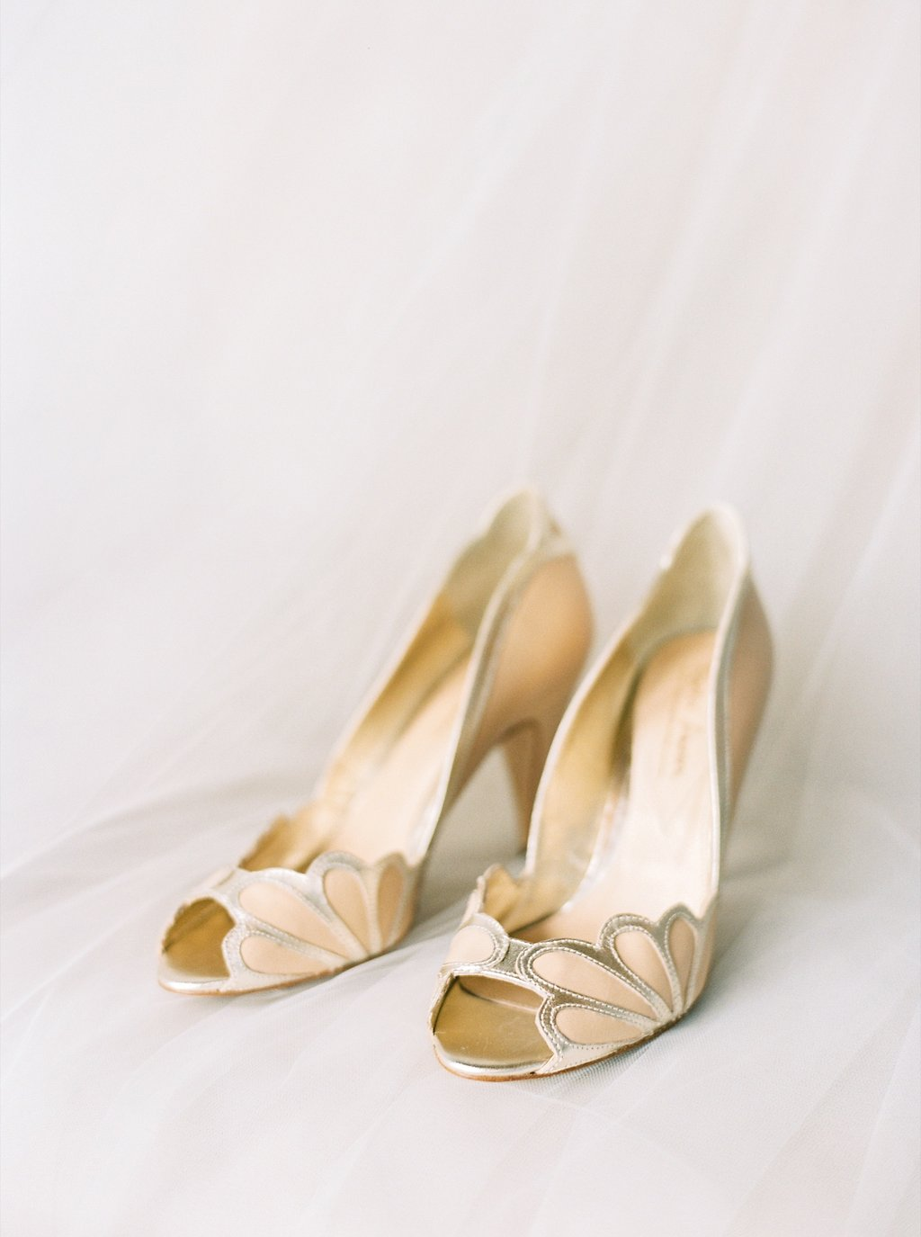 BHLDN Blush and Gold Scalloped Bridal Heels | Simply Jessica Marie's Bridal Accessories | Photo by Perry Vaile Photography