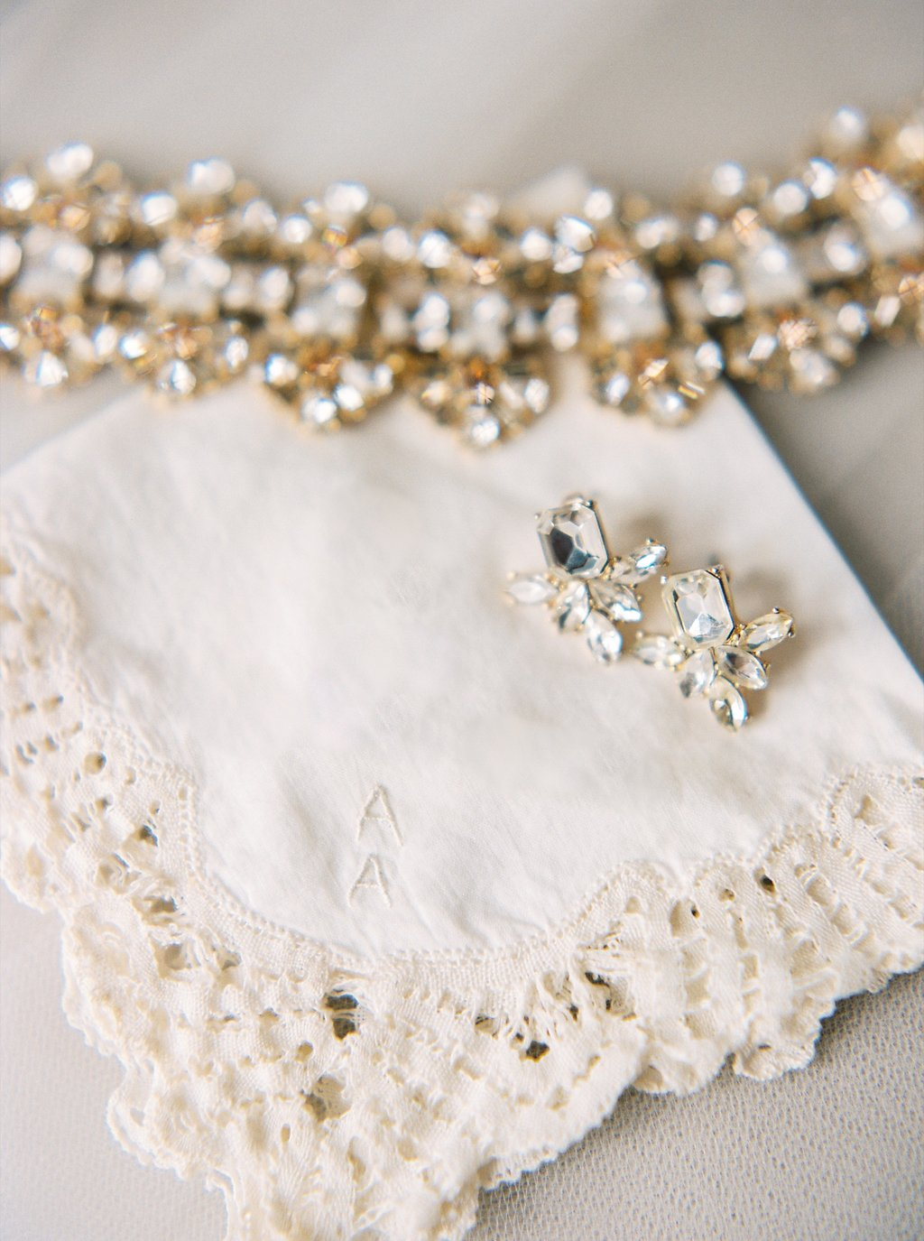 Jeweled Earrings, Kate Spade Bridal Necklace, and Heirloom Handkerchief | Simply Jessica Marie's Bridal Accessories | Photo by Perry Vaile Photography