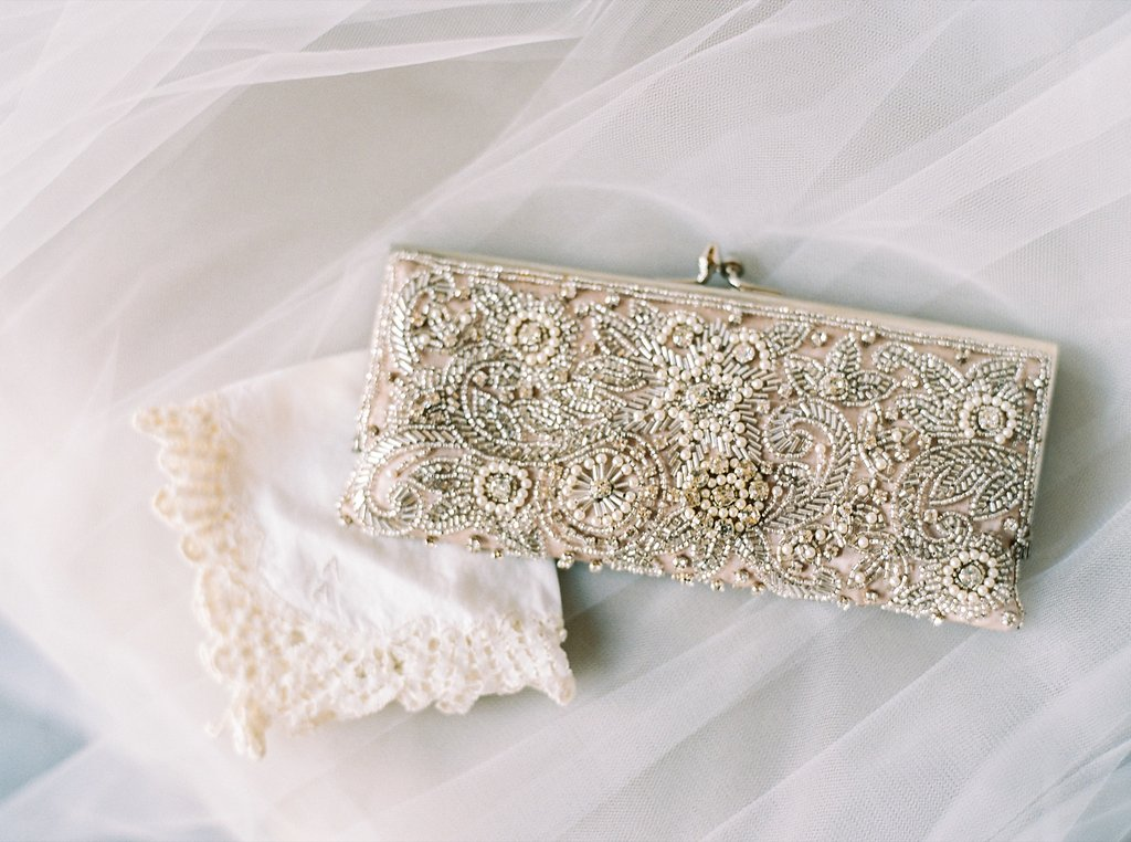 Soft Beaded Blush Bridal Clutch, Heirloom Handkerchief, and BHLDN Veil | Simply Jessica Marie's Bridal Accessories | Photo by Perry Vaile Photography