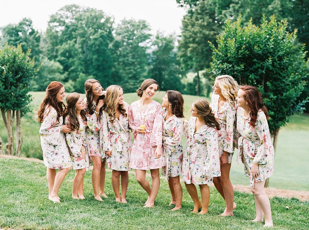 Bride and Bridesmaids in Plum Pretty Sugar Robes | Simply Jessica Marie's Southern Wedding | Photo by Perry Vaile Photography
