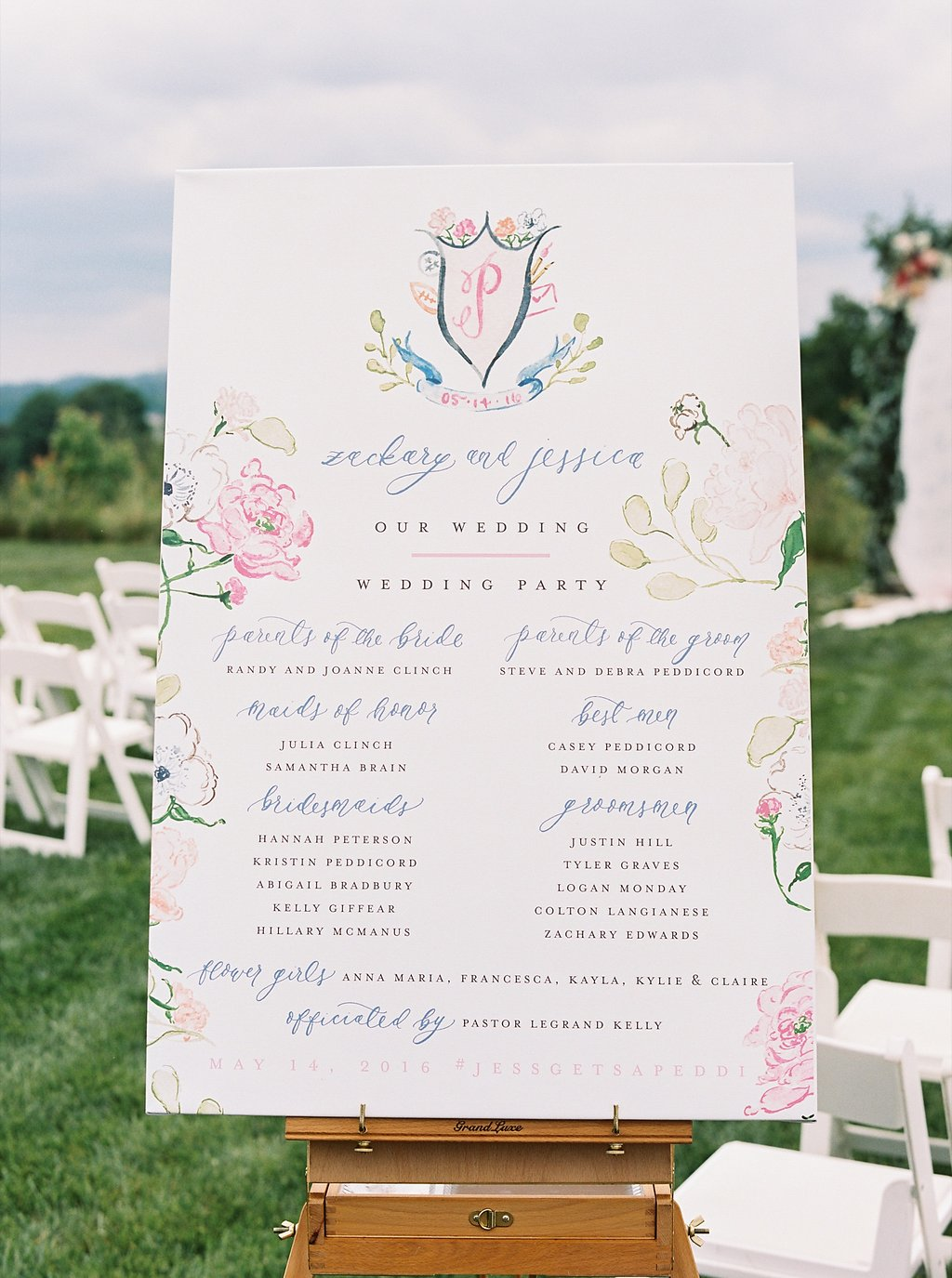 Watercolor and Calligraphy Program Sign Canvas | Artistic Wedding Program Alternative | Blush and Navy Wedding with Fuchsia, French Blue and Gold Accents | Simply Jessica Marie's Southern Wedding at Gettysvue Golf Course and Country Club in Knoxville Tennessee | Photo by Perry Vaile Photography