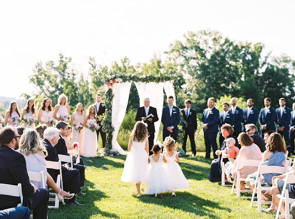 Outdoor Southern Wedding Ceremony with Multiple Flower Girls in Tulle Dresses | Blush and Navy Wedding with Fuchsia, French Blue and Gold Accents | Simply Jessica Marie's Southern Wedding at Gettysvue Golf Course and Country Club in Knoxville Tennessee | Photo by Perry Vaile Photography