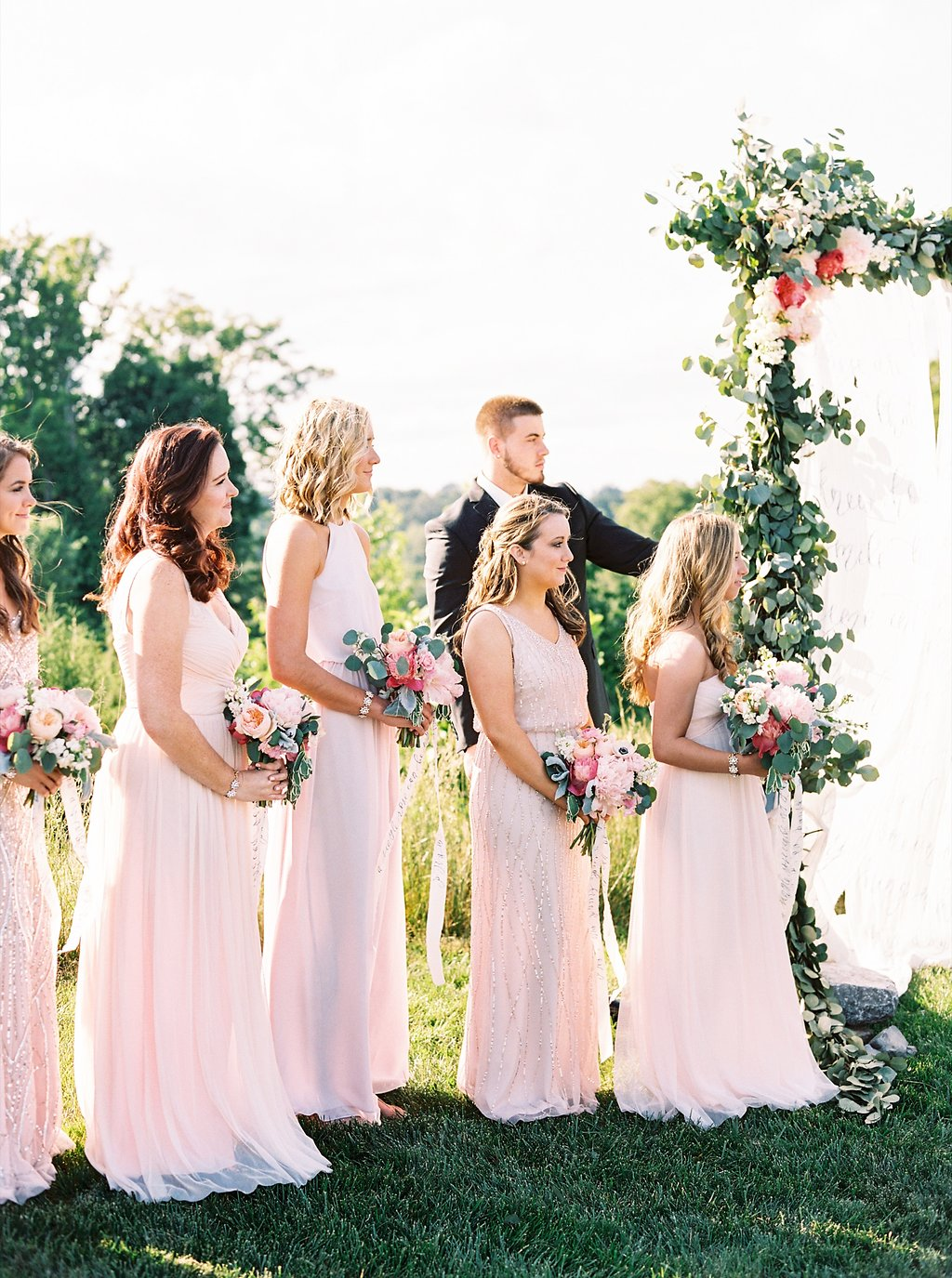 Blush Bridesmaids at an Outdoor Wedding Ceremony | Blush and Navy Wedding with Fuchsia, French Blue and Gold Accents | Simply Jessica Marie's Southern Wedding | Photo by Perry Vaile Photography