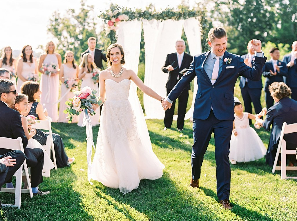 Outdoor Southern Wedding Ceremony | Blush and Navy Wedding with Fuchsia, French Blue and Gold Accents | Simply Jessica Marie's Southern Wedding at Gettysvue Golf Course and Country Club in Knoxville Tennessee | Photo by Perry Vaile Photography