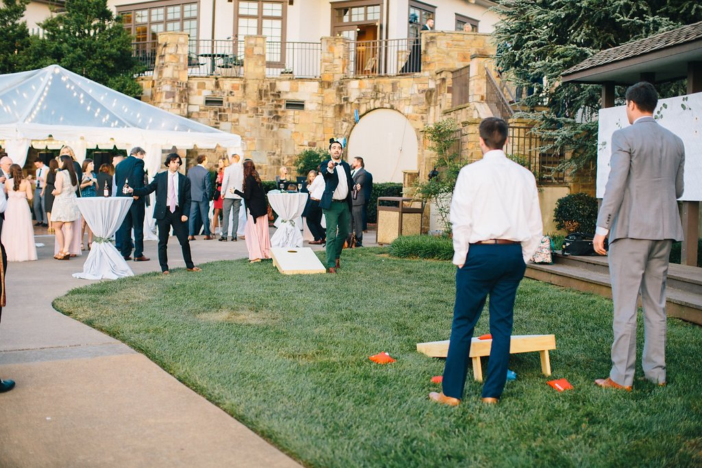 Wedding Corn Hole | Blush and Navy Wedding with Fuchsia, French Blue and Gold Accents | Simply Jessica Marie's Southern Wedding at Gettysvue Golf Course and Country Club in Knoxville Tennessee | Photo by Perry Vaile Photography