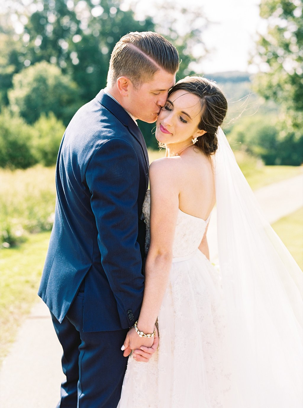 Sweet Newlywed Photos after our Wedding Ceremony | Blush and Navy Wedding with Fuchsia, French Blue and Gold Accents | Simply Jessica Marie's Southern Wedding at Gettysvue Golf Course and Country Club in Knoxville Tennessee | Photo by Perry Vaile Photography