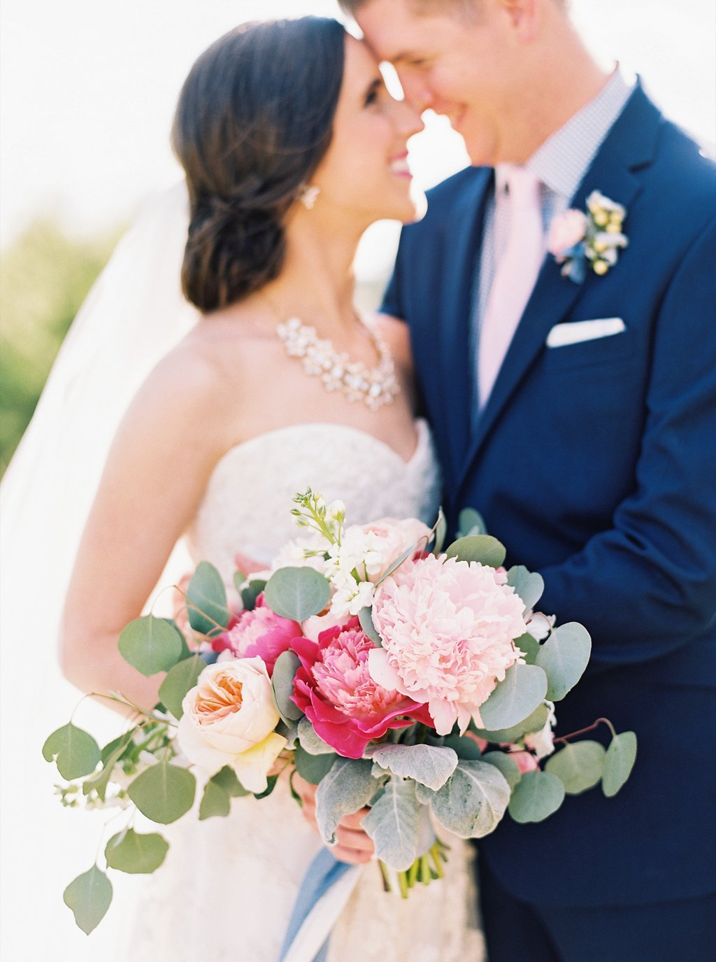 Blush and Fuchsia Poeny Bridal Bouquet with Peach Juliet Garden Roses and Silver Dollar Eucalyptus | Sweet Newlywed Photos after our Wedding Ceremony | Blush and Navy Wedding with Fuchsia, French Blue and Gold Accents | Simply Jessica Marie's Southern Wedding at Gettysvue Golf Course and Country Club in Knoxville Tennessee | Photo by Perry Vaile Photography
