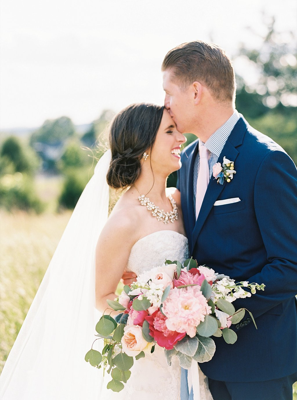 Sweet Newlywed Photos | Blush and Navy Wedding with Fuchsia, French Blue and Gold Accents | Simply Jessica Marie's Southern Wedding at Gettysvue | Photo by Perry Vaile Photography