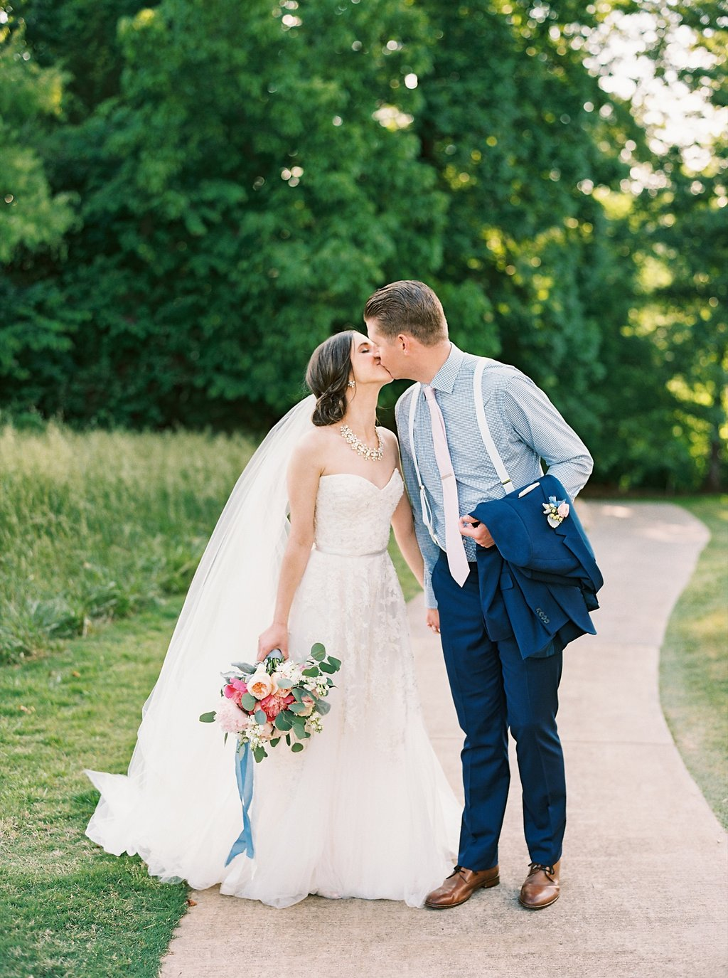 Groom in Navy Gingham Shirt, White Suspenders and a Bright Blue Kenneth Cole Suit | Sweet Newlywed Photos after our Wedding Ceremony | Blush and Navy Wedding with Fuchsia, French Blue and Gold Accents | Simply Jessica Marie's Southern Wedding at Gettysvue Golf Course and Country Club in Knoxville Tennessee | Photo by Perry Vaile Photography