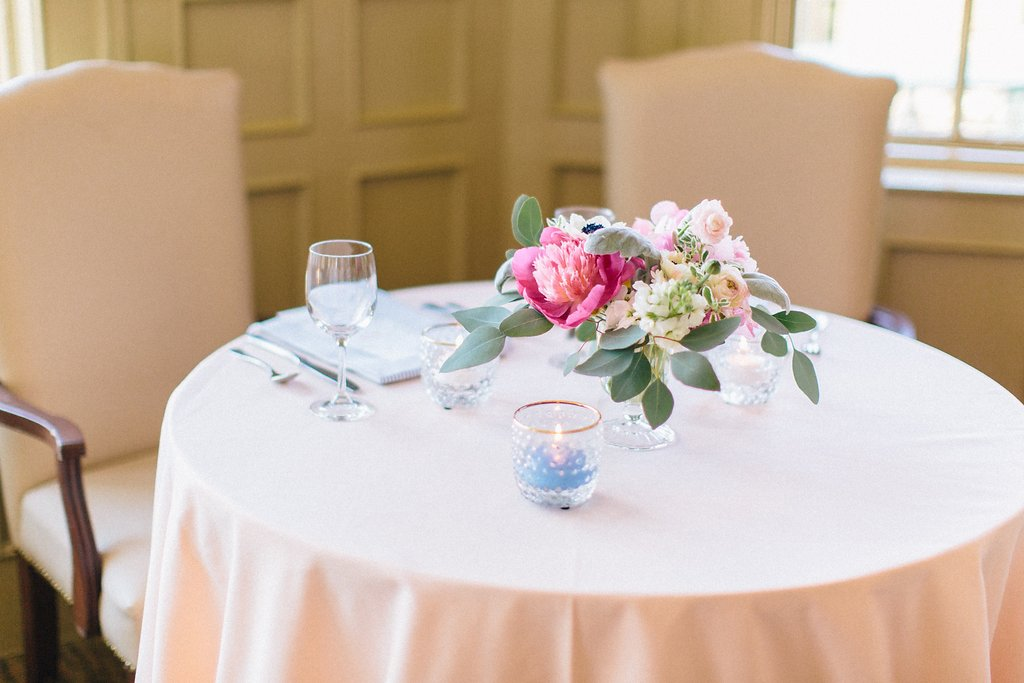 Southern Wedding Reception Design with Simple Sweetheart Table Design | Blush and Navy Wedding with Fuchsia, French Blue and Gold Accents | Simply Jessica Marie's Southern Wedding at Gettysvue Golf Course and Country Club in Knoxville Tennessee | Photo by Perry Vaile Photography
