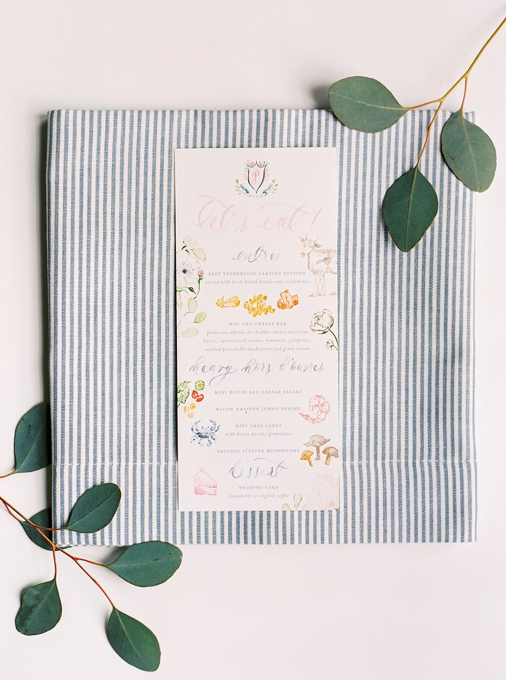 Custom Watercolor Illustrated Wedding Menu with Brush Calligraphy, Painted Illustrated Food Icons, and a Custom Watercolor Wedding Crest | Blush and Navy Wedding with Fuchsia, French Blue and Gold Accents | Simply Jessica Marie's Southern Wedding at Gettysvue Golf Course and Country Club in Knoxville Tennessee | Photo by Perry Vaile Photography
