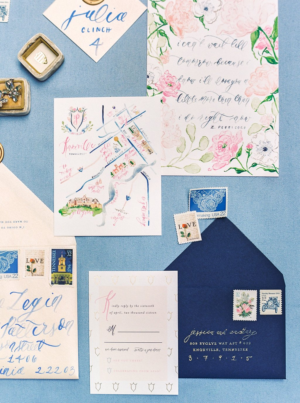 Custom Watercolor Floral and Gold Foil Wedding Invitations with Watercolor Wedding Map, Custom Watercolor Wedding Crest, Gold Wax Seal and Calligraphy Envelope Liners Blush and Navy Wedding with Fuchsia, French Blue and Gold Accents | Simply Jessica Marie's Southern Wedding at Gettysvue Golf Course and Country Club in Knoxville Tennessee | Photo by Perry Vaile Photography