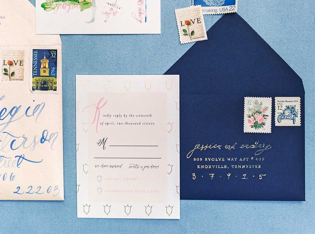 Gold Foil Vertical Response Cards in a Custom Watercolor Floral and Gold Foil Wedding Invitations with Watercolor Wedding Map, Custom Watercolor Wedding Crest, Gold Wax Seal and Calligraphy Envelope Liners Blush and Navy Wedding with Fuchsia, French Blue and Gold Accents | Simply Jessica Marie's Southern Wedding at Gettysvue Golf Course and Country Club in Knoxville Tennessee | Photo by Perry Vaile Photography