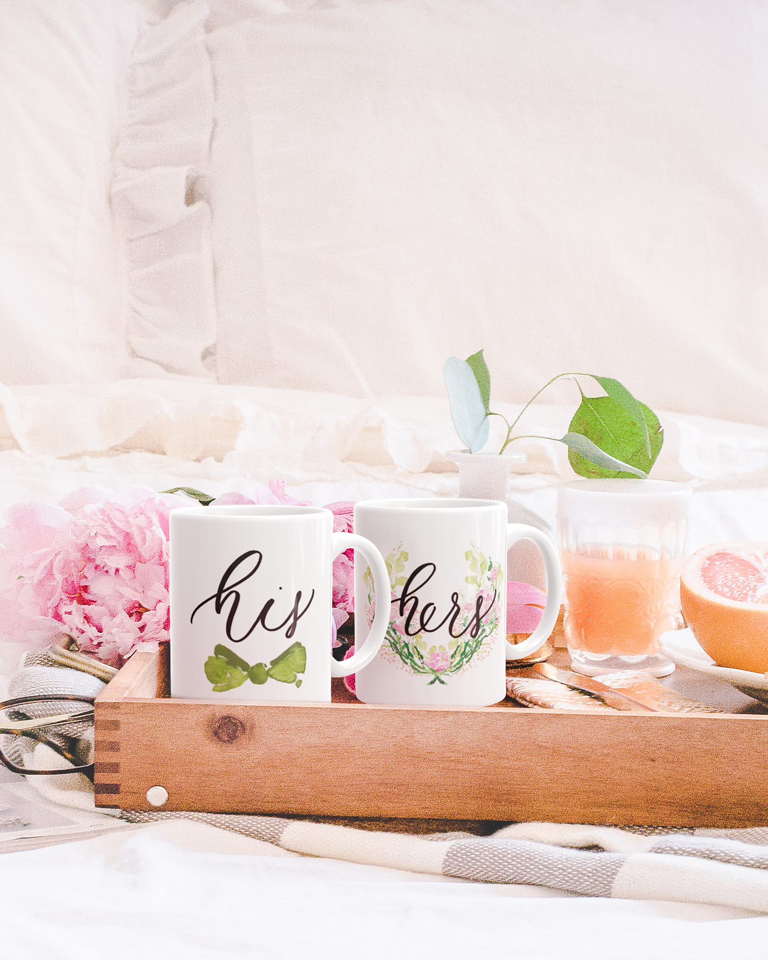 Watercolor Floral and Watercolor Bow Tie His and Hers Calligraphy Coffee Mugs Set of Two by Simply Jessica Marie
